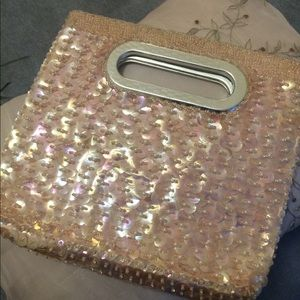 Vintage Iridescent Pink Sequined Evening Clutch